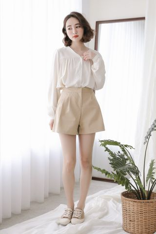 (BACKORDER) SELF LOVE KOREA BUTTON DOWN BLOUSE IN CREAM