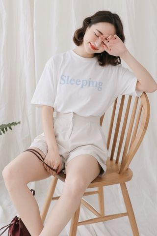 SELF LOVE SLEEPING SLOGAN TEE IN BABY BLUE