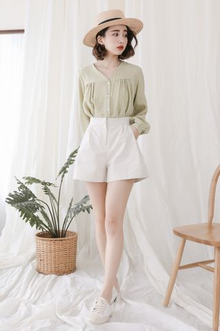 (BACKORDER) SELF LOVE KOREA BUTTON DOWN BLOUSE IN WASABI