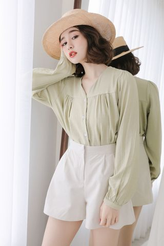 SELF LOVE KOREA BUTTON DOWN BLOUSE IN WASABI