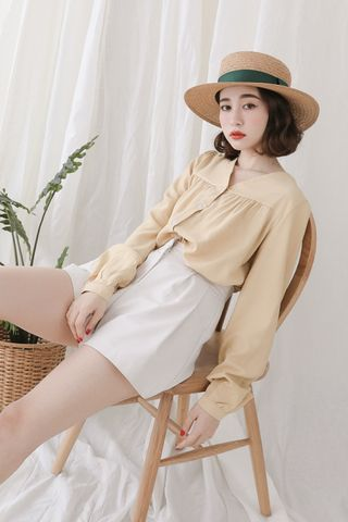 (BACKORDER) SELF LOVE KOREA BUTTON DOWN BLOUSE IN BABY YELLOW