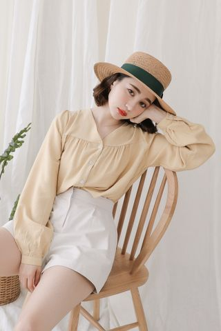 SELF LOVE KOREA BUTTON DOWN BLOUSE IN BABY YELLOW