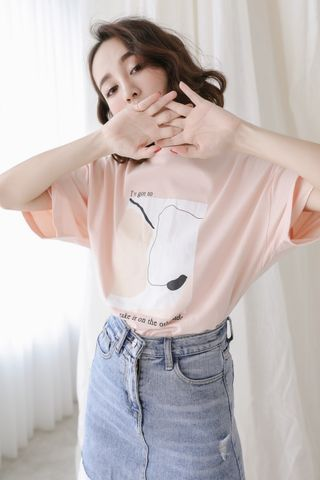 LOVE MYSELF ; KOREA PRINTED TEE IN BABY CORAL