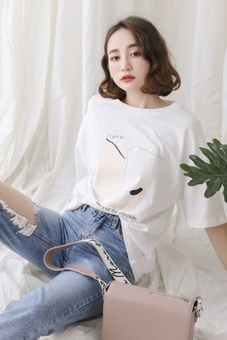 LOVE MYSELF ; KOREA PRINTED TEE IN WHITE