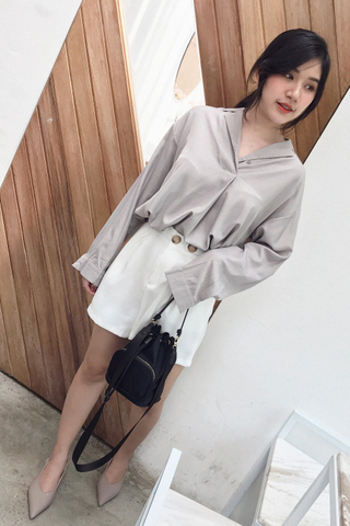 BETTER DAY KOREA BLOUSE IN GREY