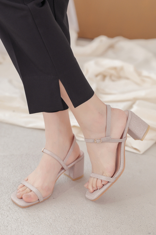 LEMON 365 DAYS KOREA GLITTER STRAPPY HEELS IN NUDE