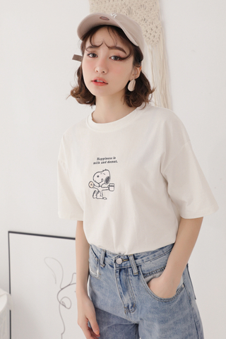 SUNSHINE DAY SNOOPY DONUT TEE IN WHITE