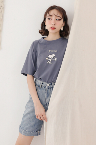(BACKORDER) SUNSHINE DAY SNOOPY DONUT TEE IN DUSTY BLUE