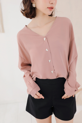 OPS A DAY KOREA BUTTON UP SHIRT IN BLUSH