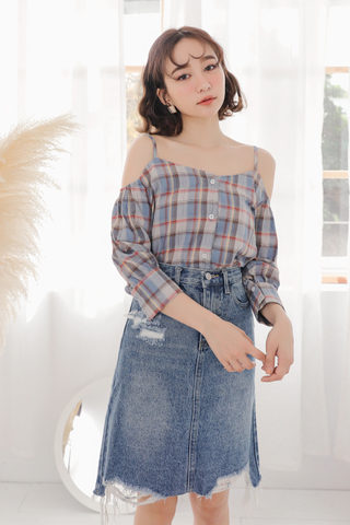 SUNSHINE DAY CHECKERED TOP IN BLUE