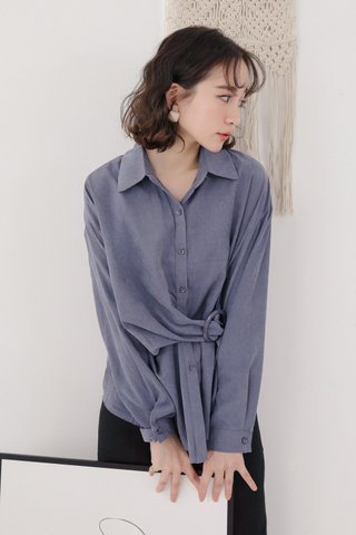 OPS A DAY BUCKLE SHIRT IN DUSTY BLUE