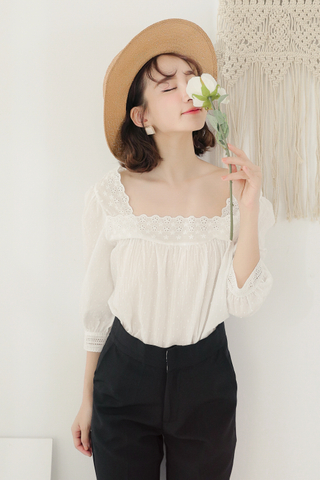 LEMON 365 DAYS SQUARE NECK EYELET BLOUSE