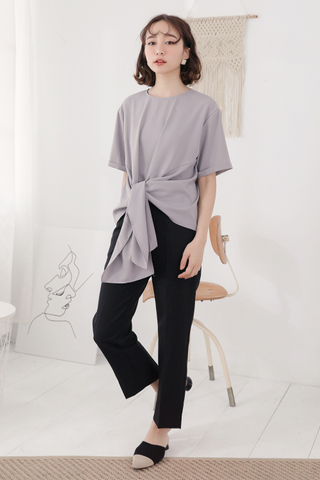 OPS A DAY KOREA MADE KNOT BASIC TOP IN GREY