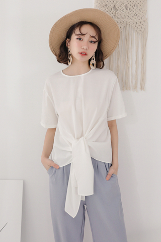OPS A DAY KOREA MADE KNOT BASIC TOP IN WHITE