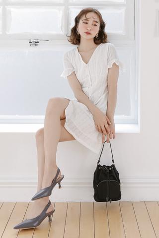 SUNSHINE DAY BUTTON DOWN EYELET DRESS IN WHITE