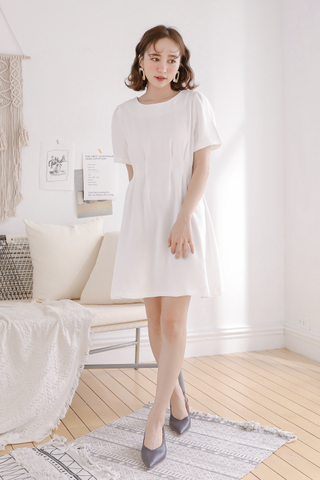 OPS A DAY KOREA PLEATED DRESS IN WHITE