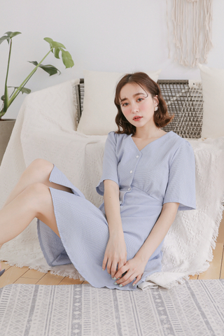(BACKORDER) OPS A DAY KOREA CHECKERED DRESS IN BLUE