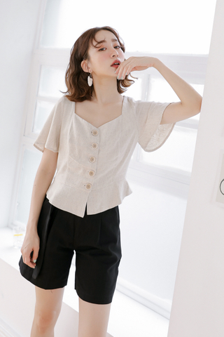 OPS A DAY KOREA BUTTON-UP TOP IN OAT MEAL
