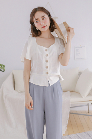 (BACKORDER) OPS A DAY KOREA BUTTON-UP TOP IN WHITE