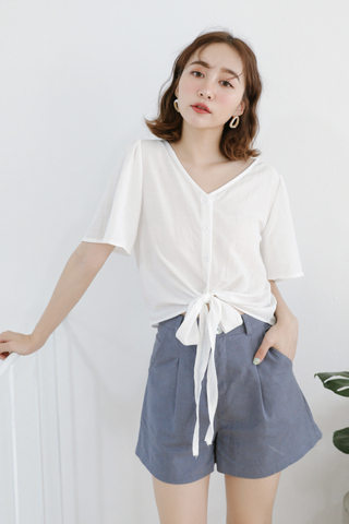 LEMON 365 DAYS SELF TIE TOP IN WHITE