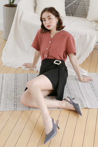 (BACKORDER) LEMON 365DAYS BUTTON DOWN TOP IN ROSEWOOD