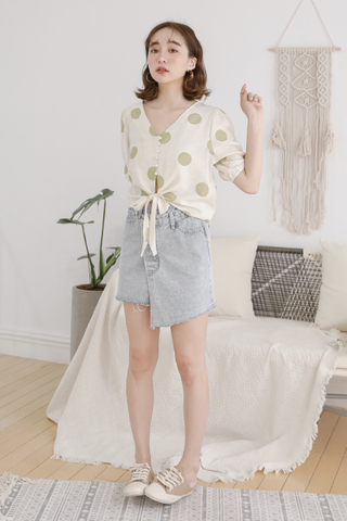 LEMON 365 DAYS WASHED DENIM ASYMMETRICAL SKIRT