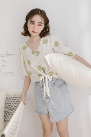 (BACKORDER) LEMON 365 DAYS POLKA DOT TOP IN AVOCADO