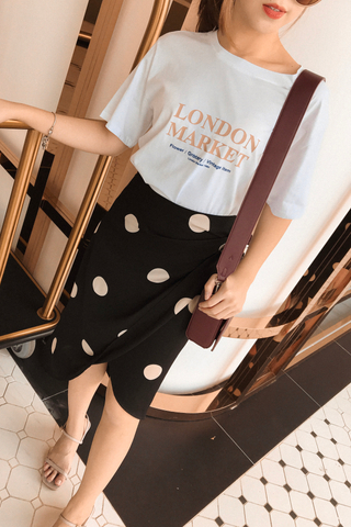 (BACKORDER) PEANUT DAY POLKA DOT ASYMMETRICAL SKIRT