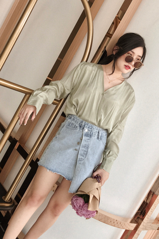 LEMON 365 DAYS KOREA OVERLAP BLOUSE IN GREEN