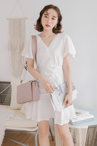 BUTTER DAY KOREA EYELET DRESS IN WHITE