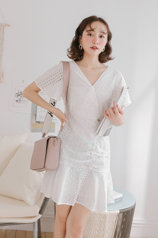 (BACKORDER) BUTTER DAY KOREA EYELET DRESS IN WHITE