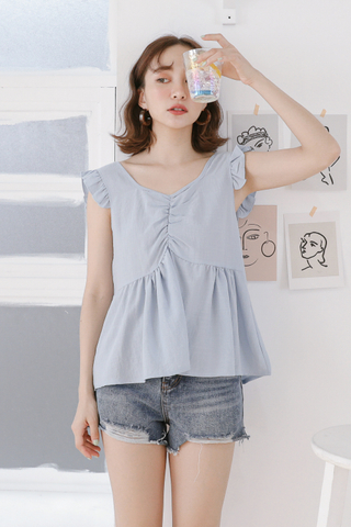 BUTTER DAY RUFFLE TOP IN BLUE