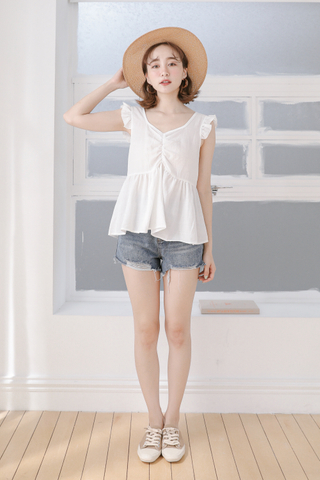 BUTTER DAY RUFFLE TOP IN WHITE