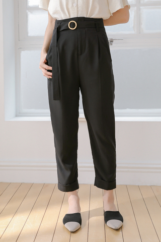(BACKORDER) BUTTER DAY -5KG BELTED PANTS IN BLACK