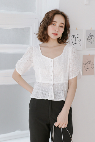 BUTTER DAY EYELET BUTTON-DOWN TOP IN WHITE