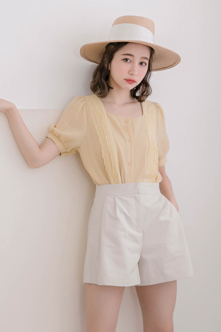 HONEY YU SQUARE EYELET TOP IN BABY YELLOW