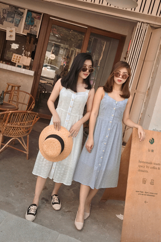 KISSES DAY EYELET MAXI DRESS IN BABY BLUE