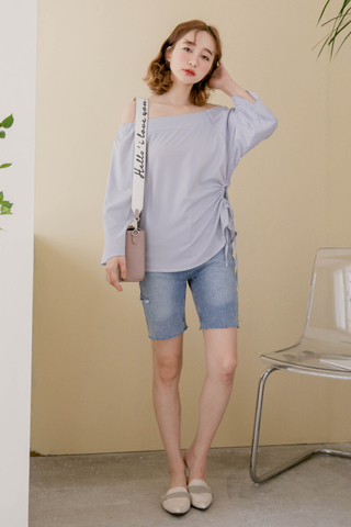 ALL DAY FRAYED DENIM SHORTS IN BLUE