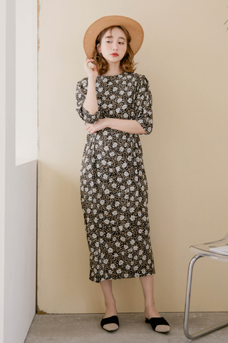 ALL DAY KOREA FLORA DRESS IN BLACK