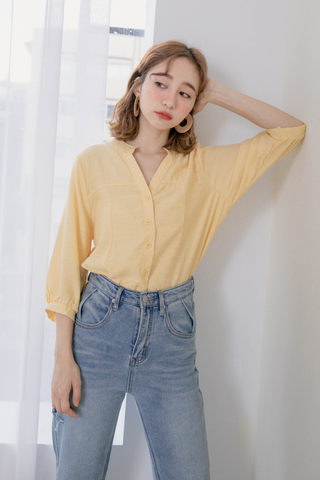 (BACKORDER) ALL DAY V-NECK PUFFY SLEEVE TOP IN BABY YELLOW
