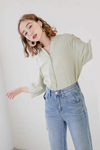 ALL DAY V-NECK PUFFY SLEEVE TOP IN AVOCADO