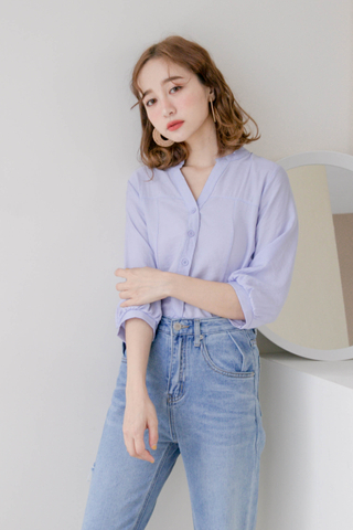 (BACKORDER) ALL DAY V-NECK PUFFY SLEEVE TOP IN BABY BLUE
