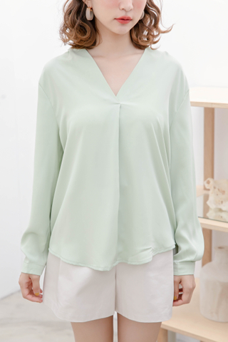 (BACKORDER) QUILA DE KOREA ARIME MADE BLOUSE IN LIME CREAM