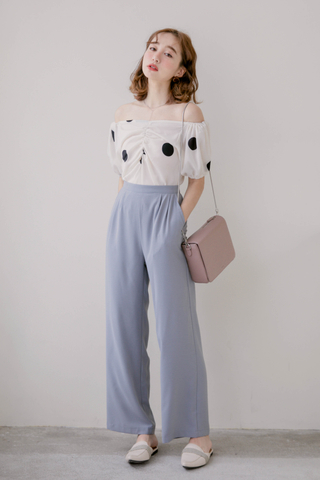(BACKORDER) WITH DAILY ARIMEE MADE WIDE-LEG PANTS IN DUSTY BLUE