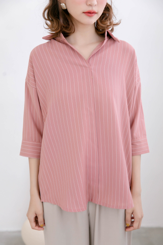 WITH DAILY KOREA STRIPE COLLAR BLOUSE IN DUSTY ROSE