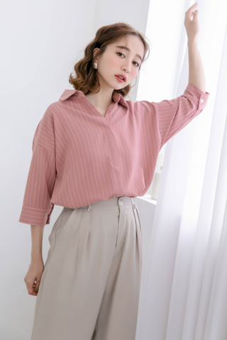 (BACKORDER) WITH DAILY KOREA STRIPE COLLAR BLOUSE IN DUSTY ROSE