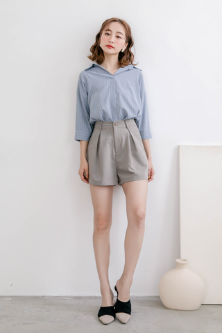 WITH DAILY KOREA STRIPE COLLAR BLOUSE IN DUSTY BLUE