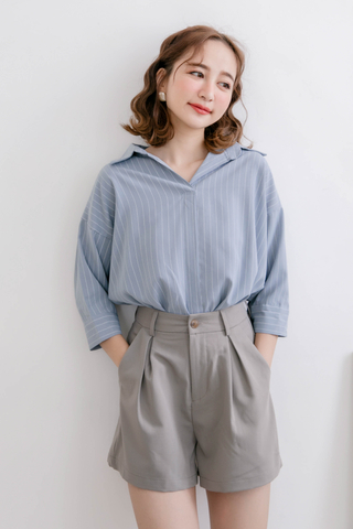 (BACKORDER) WITH DAILY KOREA STRIPE COLLAR BLOUSE IN DUSTY BLUE