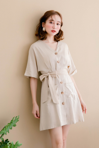 (BACKORDER) ON DEIS KOREA DOUBLE POCKET DRESS IN OAT