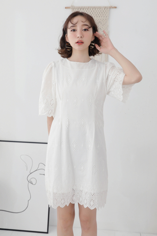 365 DAYS DE KOREA EYELET DRESS IN WHITE